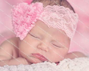 Light Pink Rosette Heart on Pink Lace Headband Free Shipping On All Additional Items