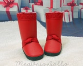 "Hearts for Hearts Doll Boots, Tall Boots, RED boots, 14"" Doll Boots, fit Les Cheries Dolls"
