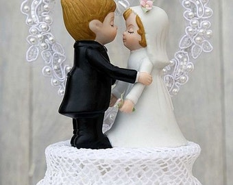 Vintage Applique Wedding Cake Topper - Custom Painted Hair Color Available - 1004081