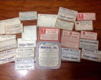 Vintage set of 16 Pharmacy Medicine labels
