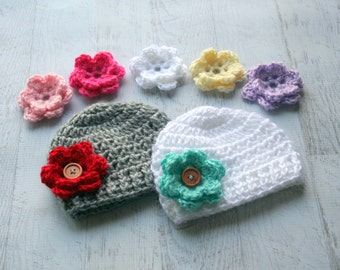 Crochet Baby Hat, Baby Girl Hat, Baby Hat, Set of 2 hats, 7 Interchangeable Flowers, Hat with Flowers, MADE TO ORDER Color choices