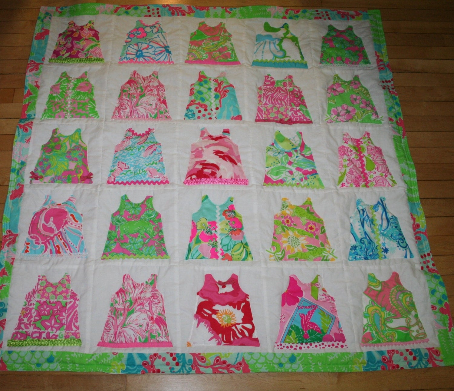 Baby girl shift dress quilt made with lilly pulitzer fabric for Baby girl fabric