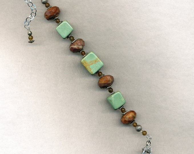 Soft Mint Green Cubes of Serpentine with Faceted Jasper Rondelles and Labradorite Beads Bracelet