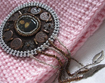 Artsy Crochet Tube Hat, Soft Pink, Mona Lisa Inspired, Beaded Applique Cloche