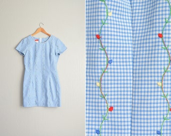 vintage '90s baby blue GINGHAM FLORAL VINE short sleeve mini dress. size l.