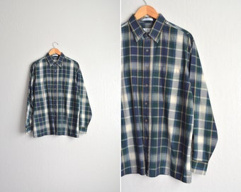 vintage men's '90s forest GREEN PLAID long sleeve FALL button-up shirt. size l xl.