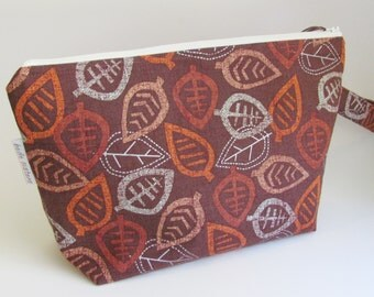 Fall Leaf Print Medium Knitting Project Bag