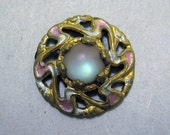 Pretty antique saphiret glass and painted brass button NBS Small