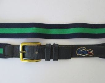 Izod Navy & Green Canvas Leather Belt  32 or M