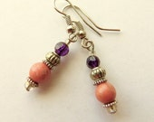 Rhodonite and Amethyst Earrings, Dangle Earrings, Southwestern Style, Pink and Purple, Handcrafted Jewelry, Gemstone Jewelry