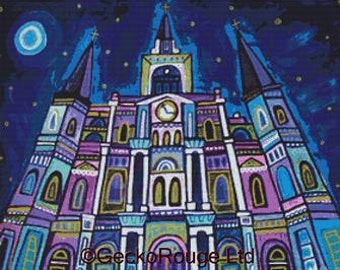 Modern cross stitch kit by Heather Galler 'New Orleans Saint Louis Cathedral ' - Counted Needlecraft Kit