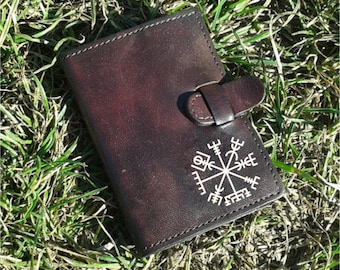 Vegvisir Icelandic Magical Stave Handpainted Credit Card Wallet For 6 Credit Cards - FREE Shipping Worldwide - Viking Vegvísir