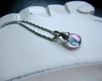 Mystic Quartz Teardrop on Sterling Plate, Wedding Jewelry, Bridesmaid, Gift, February Birthstone