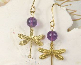 Dragonfly with Amethyst dangle earrings in gold
