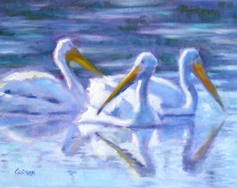 White Pelicans, 6x8 oil on panel, Daily Painting, Three Pelicans in Everglades