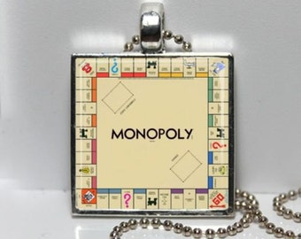 Vintage MONOPOLY charm necklace Game Board Boardwalk Park Place Go To Jail Altered Art GLASS Pendant