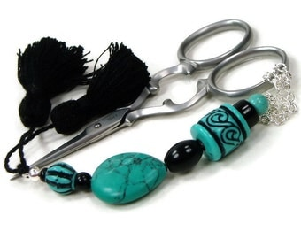 Scissor Fob Turquoise Black Beaded Cross Stitch Needlepoint Sewing Quilting Teal Gift for Crafter DIY Crafts