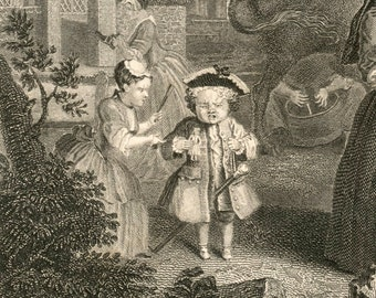 1860s Engraving on Times of the Day. Evening, by William Hogarth