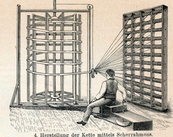 1897 German Back-to-Back Antique Engraving of Weaving Technology