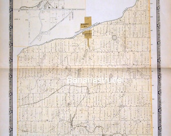 1878 Large Rare Vintage Map of Percy Township, Ontario, Canada. Inset of Village of Baltimore - Handcolored