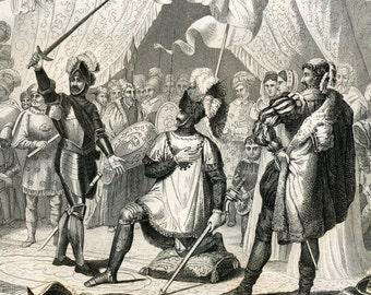 1860 Antique Steel Engraving of Knightly Ceremonies. Plate 26