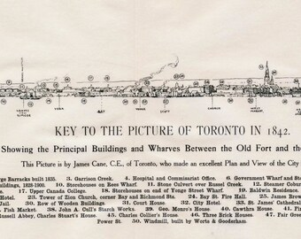 1908 Rare Print of Toronto in 1842