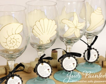 Seashell wedding, beach wedding, beach table decor, sea shell wedding, painted wine glasses, large wine glasses, beach theme wedding, shells