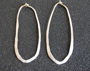 """Hammered Silver Oval Hoop Earrings- 1.5"""""""