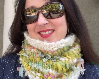 Hand Knit Cowl Scarf Hand Spun Yarn Romantic Womans Neckwarmer OOAK