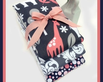 3 Full Size 18 X 14 Baby Girl Burp Cloths in Grey and Pink Elephant, Zoo Theme - 6 Ply Diaper Burp Cloth Set
