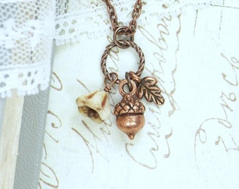 Acorn Charm Necklace Fall Leaf Jewelry Autumn Flower Necklace Woodland Jewelry Nature Necklace