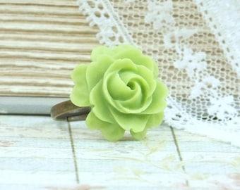 Lime Green Ring Green Rose Ring Fashion Ring Green Flower Jewelry Rose Cabochon Ring Green Flower Ring