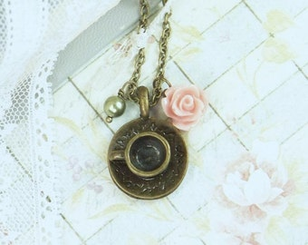 Tea Cup Necklace Shaby Chic Jewelry Pink Rose Necklace Teacup Jewelry Tea Party Necklace Teacup Necklace