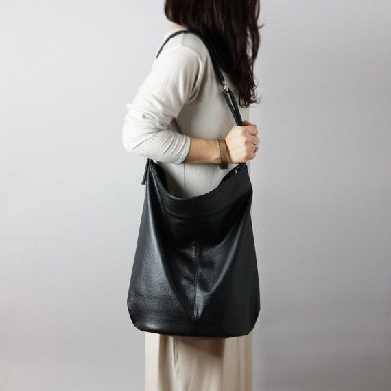Black leather hobo bag crossbody leather bag slouchy