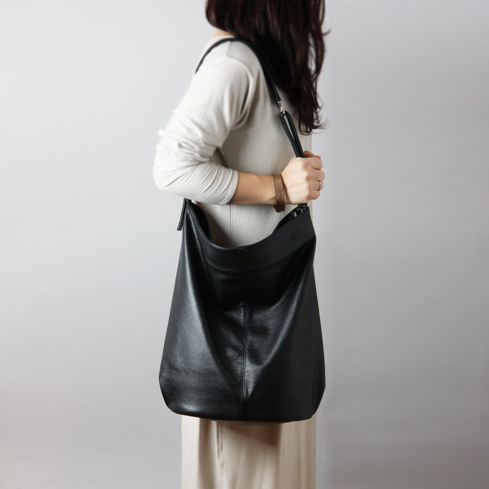 Black leather hobo bag crossbody leather bag slouchy