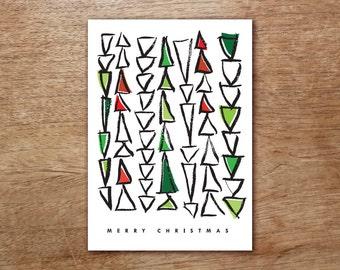 Printable Christmas Card - Christmas Tree Printable PDF - Instant Download Christmas Card - Abstract Christmas Trees - Red Black and Green