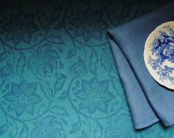 Teal and Dark Blue Passionflower Linen Table Runner hand block holiday home decor botanical floral printed your choice of length
