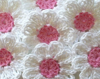 White Crochet Flowers for Scrapbooks or Sewing, 12 Handmade Appliques