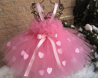 PINK HEARTS PRINCESS. Valentine's Day Tutu Dress.  Pink Tutu Dress. Flower Girl Gown.  Photo Shoot.  Girl Tutu Dress.  Baby Gift Tutu Dress.