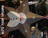 Primitive Hand painted Snowman Star--STAR Ornament