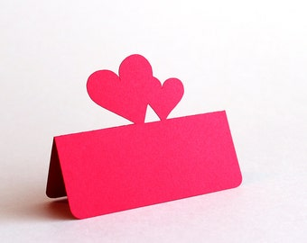 Double Heart Place Cards Set of 100, Wedding place card, wedding escort card, love wedding, Valentines Day wedding