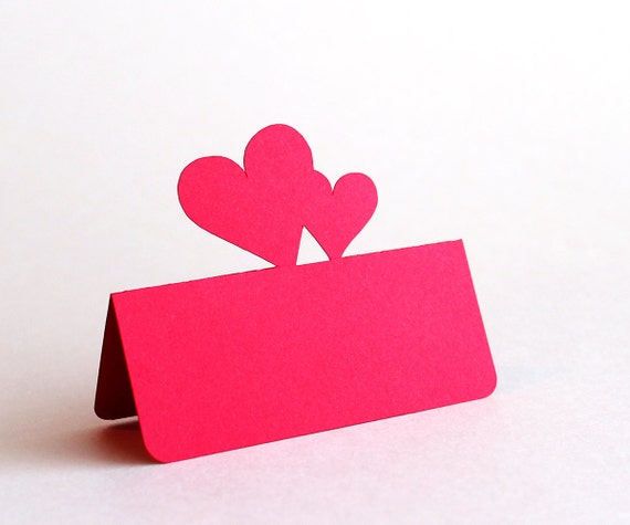 Double Heart Place Cards Set of 100 Wedding Valentines Day