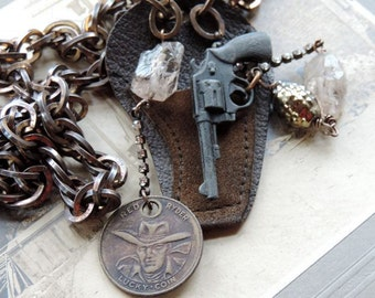 Vintage Assemblage Necklace Miniature Gun and Holster, Red Ryder Token ~Ode to Annie Oakley