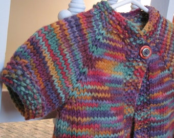 Little Girl's Hand Knit Cardigan- Baby Girl's Hand Knit Cardigan- Multicolored