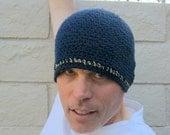men's hemp cotton beanie/ deep navy blue crochet