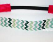 Green Chevron No Slip Headband