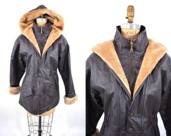 1970s jacket vintage 70s brown leather fur collar hooded jacket M/L