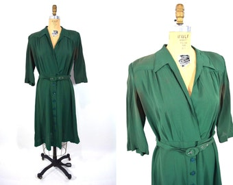 1940s dress vintage 40s green button skirt surplice AS IS dress XL