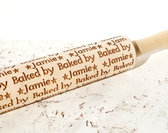 Personalized embossing rolling pin, Baked by ... design, Custom wooden rolling pin, Cookies decorating roller, Laser engraved rolling pin