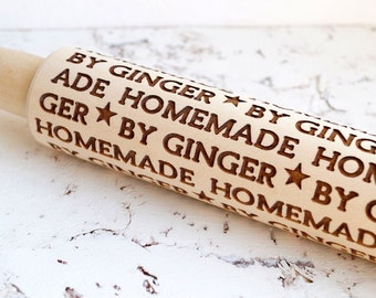 Personalized rolling pin, Homemade by ... design, Embossing rolling pin, Custom wooden rolling pin, Cookies decorating roller